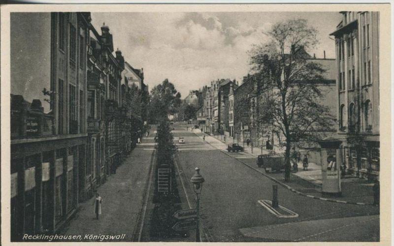 Recklinghausen v. 1934  Der Königswall mit Geschäfte und alte PKW`s  (45336)