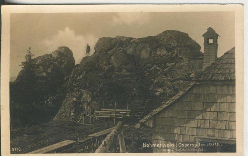 Böhmerwald v. 1926  Die Osserspritze mit Haus  (45345)