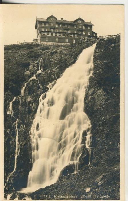 Riesengebirge v. 1943  Elbefall mit Baude  (45348)