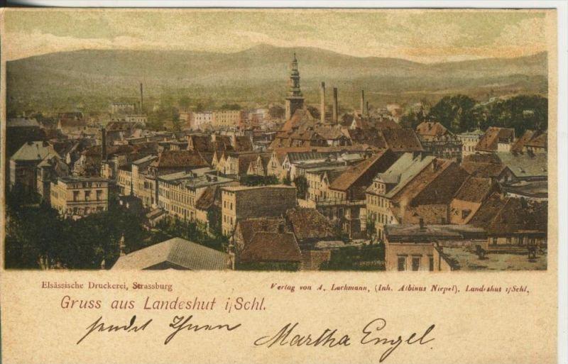 Gruss aus Landeshut v. 1899  Teil-Stadt-Ansicht  (45350)