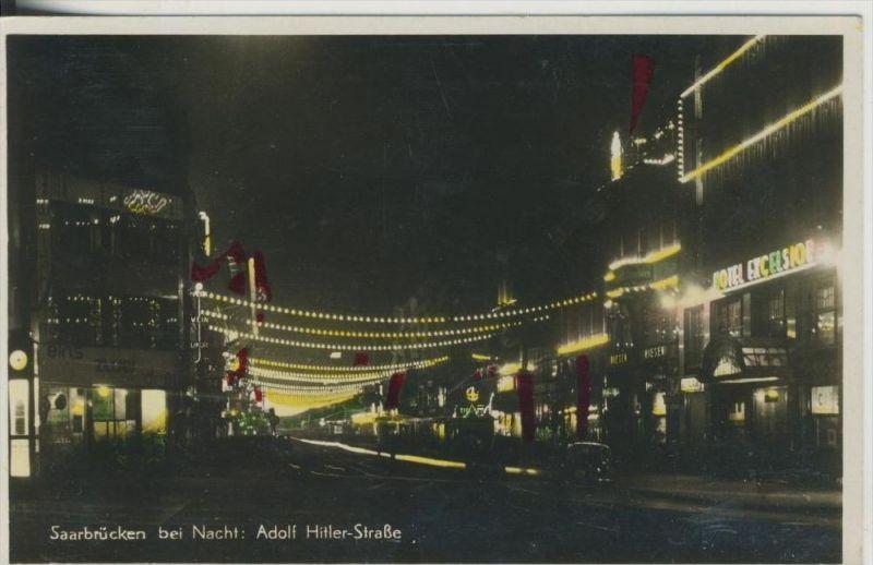 Saarbrücken v. 1935  Adolf Hitler Strasse bei Nacht  (45356)