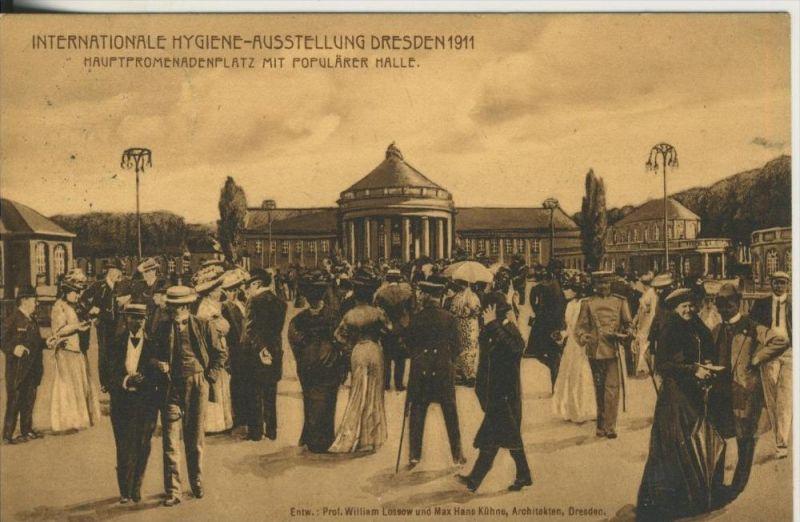 Dresden v. 11  Internatinale Hygiene Ausstellung -- mit eingedruckter Marke !!  (45359)