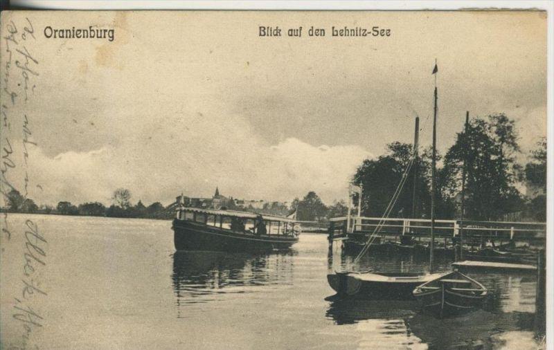Oranienburg v. 1913  Anlegestelle mit Schiff und Blick auf den Behnlitz See  (45360)