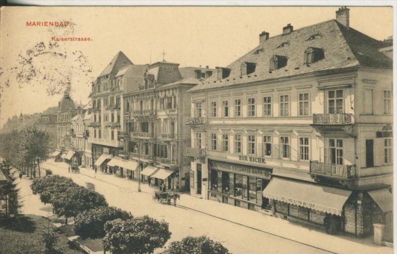 Marienbad v. 1912  Kaiserstrasse-,Böhmische Bank,Restaurant