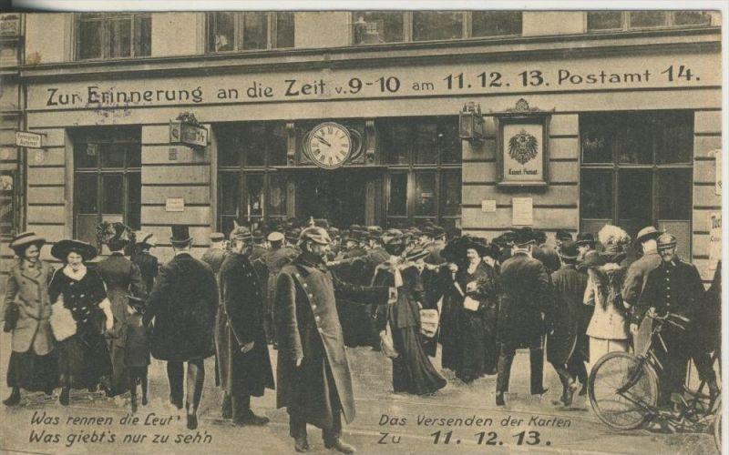 Berlin v. 11.12.1913  Zur Erinnerung an die Zeit v. 9-10 Uhr am 11.12.13 Postamt 14 (45367)