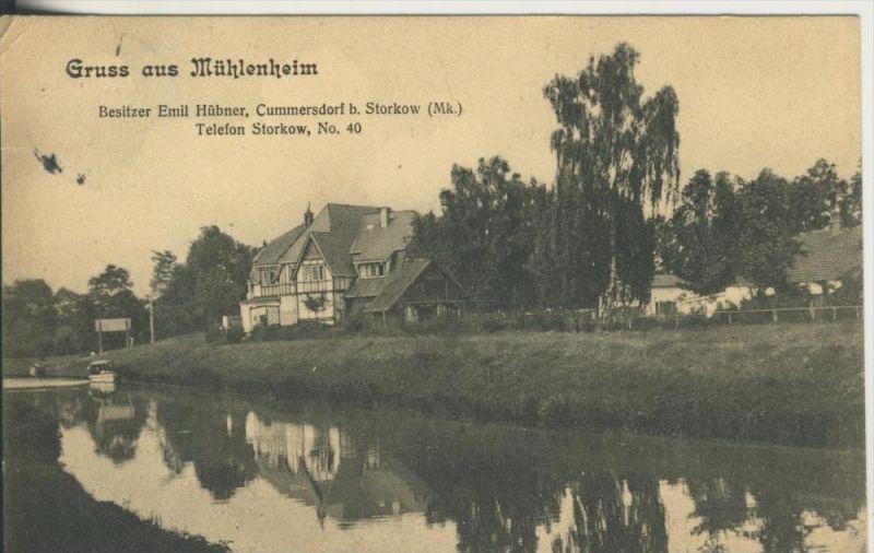 Gruss aus Mühlenheim v. 1903  Bes.E. Hübner,Cummersdorf b. Storkow  (45371)