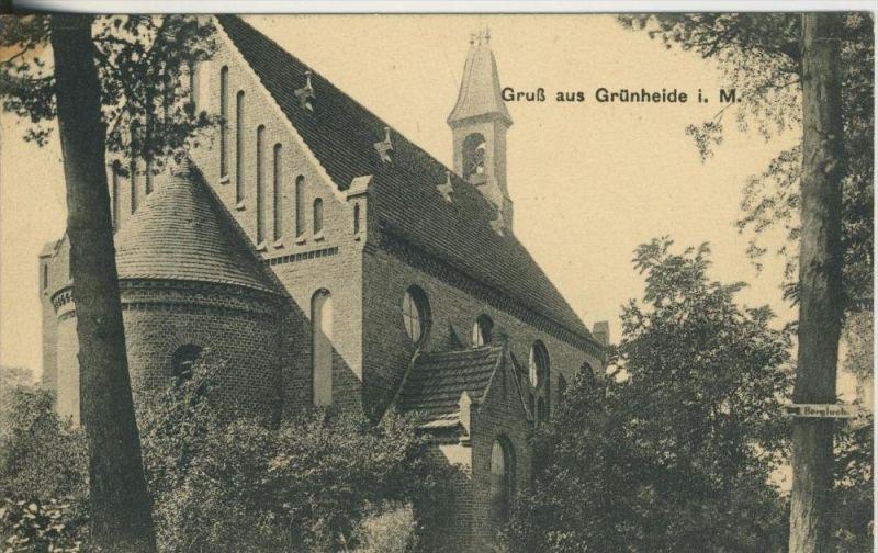 Grünheide v. 1915  Kirche und Weg zum Bergluch  (45531-SH)