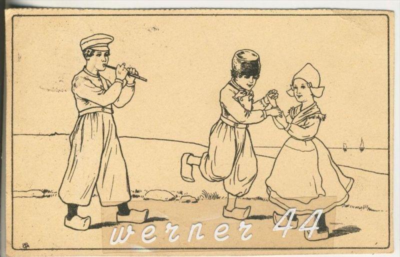 Ein Flötenspieler und Kinder tanzen dazu v. 1921   (45633)
