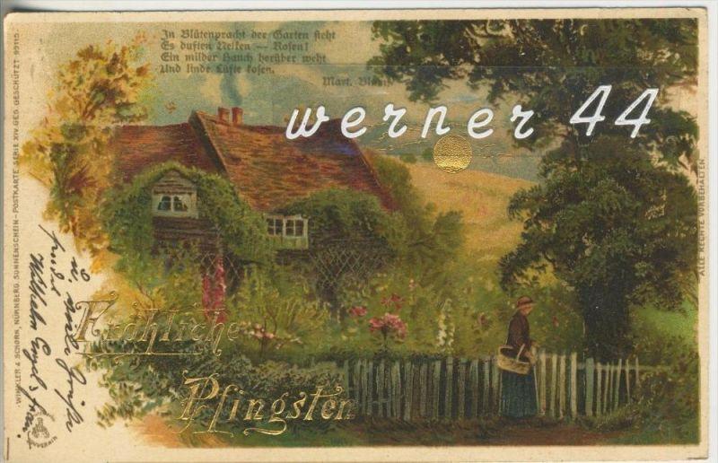 Frohe Pfingsten v. 1900  Schöne Landschaft   (45635)