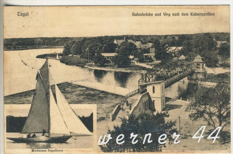 Tegel v. 1911 Hafenbrücke und Weg nach dem Kaiserpavillon (3148)