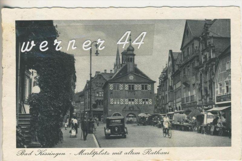 Bad Kissingen v. 1937 Marktplatz mit Hotel`s ,Drogerie,Kneipe und Verkaufstände auf der Strasse  (3171)