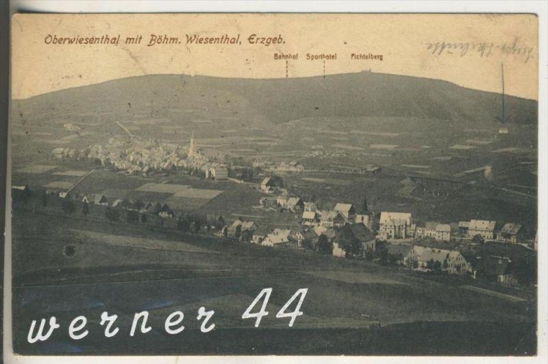 Oberwiesenthal v. 1922 Total-Dorf-Ansicht mit böhm. Wiesenthal (3218)