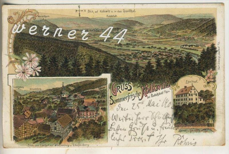 Gruss aus Kolkwitz v. 1902  Weissenburg & Leuchtenburg,Edelhof,Total Dorf Ansicht  (3226)
