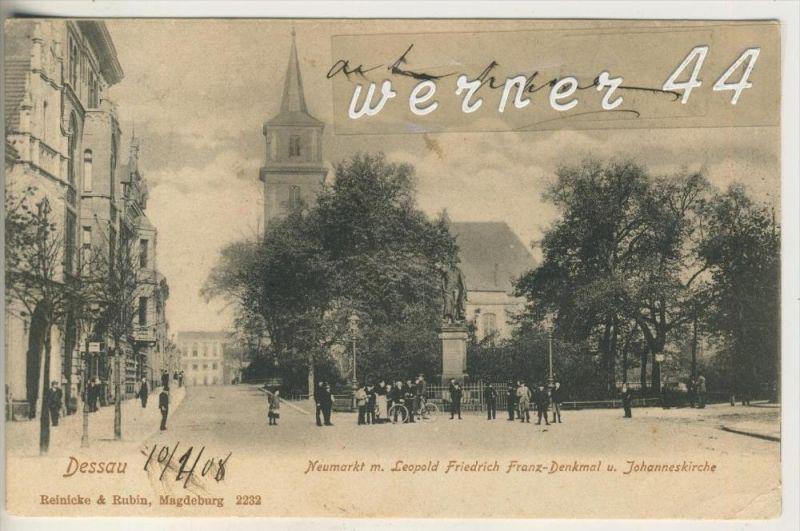 Dessau v. 1908  Neumarkt - mit Denkmal und Kirche