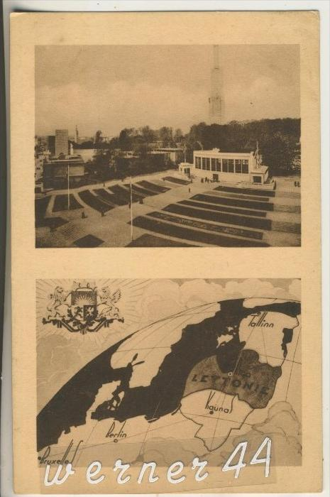 Lettonie v.1935 Pavillon & Weltkarte (13419)