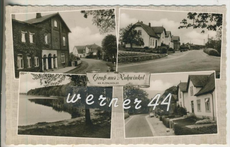 Gruß aus Ruhwinkel v. 1958  Gasthof,Dorfstrasse,Dorfpartie,See  (8050-10)
