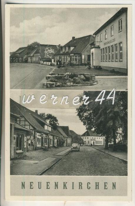 Neuenkirchen v.1958 Strassensicht mit der Kreissparkasse, Strassensicht mit Geschäft Pagelsang (13972)