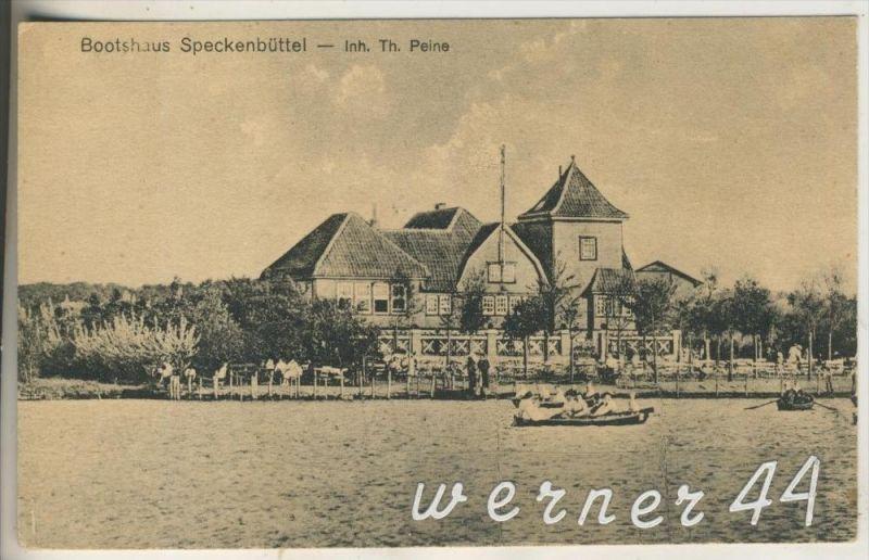 Speckenbüttel v.1920  Das Bootshaus, Inh. Th. Peine  (14355)
