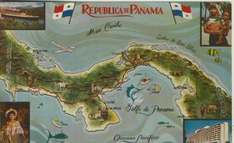 Republica de Panama v. 1960  Landkarte von Panama  (53031)