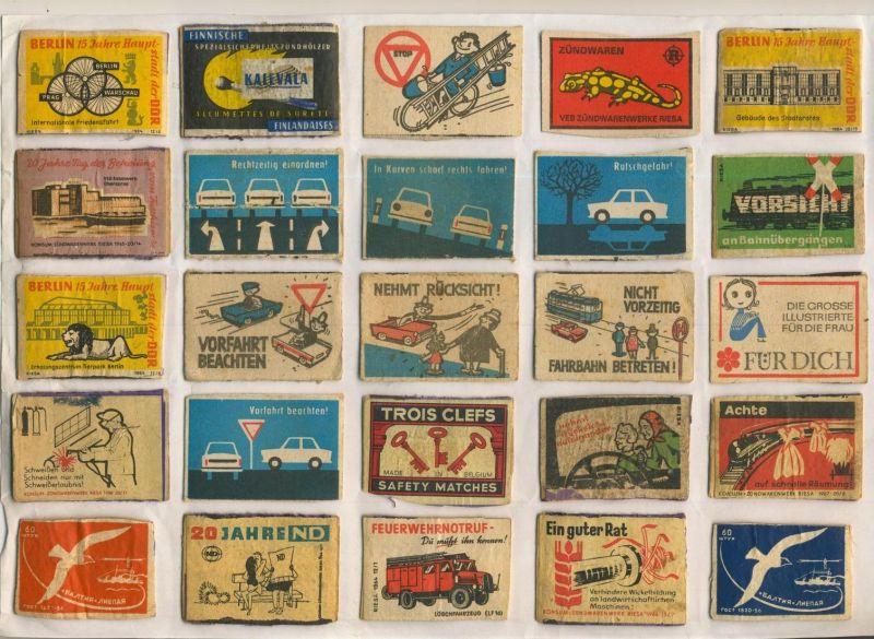 DDR und die Welt  v. 1950 bis.... DDR+Welt  -- Zündholz-Etiketten-Deckel 98 Stück (54040)