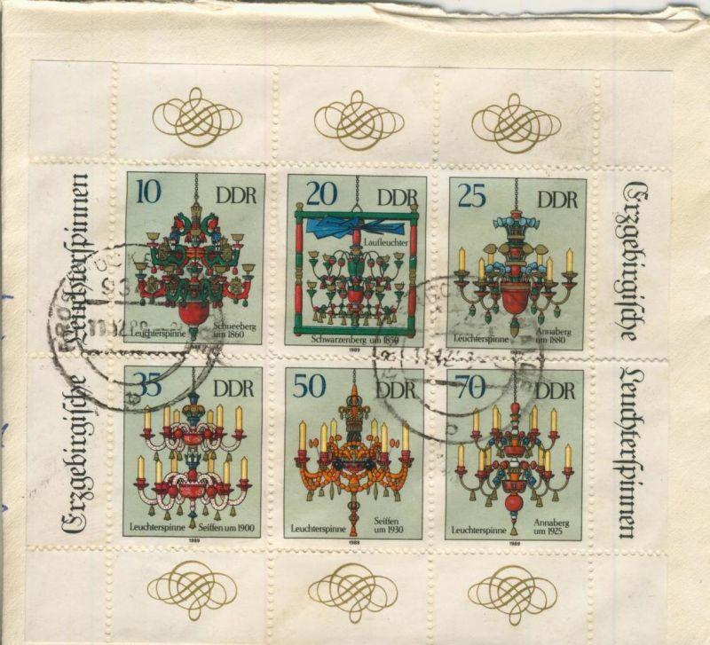 Briefumschlag vom 11.12.1989 aus Großrückerswalde  --  siehe Foto - (Block) 10,20,25,35,50,70 Pfennig   (54099-150)