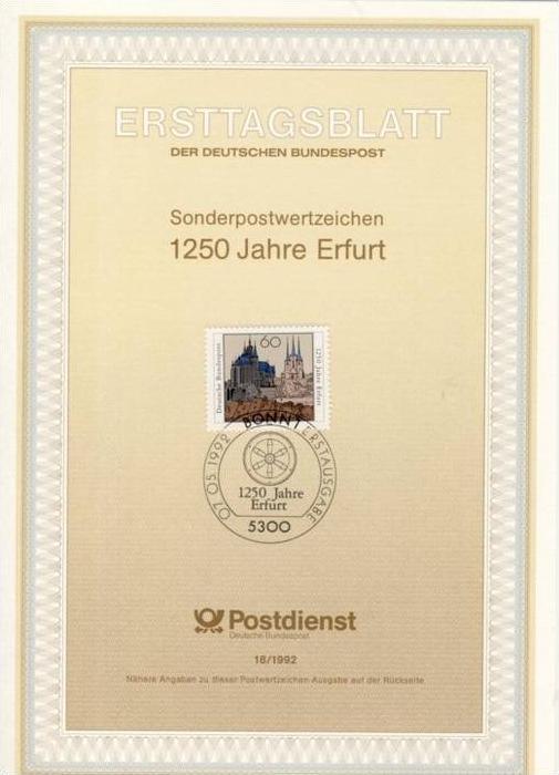 BRD - ETB (Ersttagsblatt) 18/1992 Michel 1611 - 1250 Jahre Erfurt