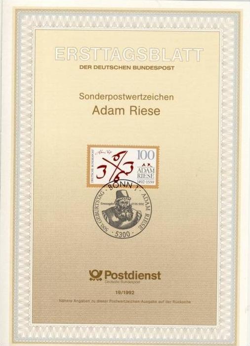 BRD - ETB (Ersttagsblatt) 19/1992 Michel 1612 - Adam Riese