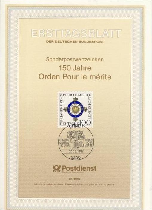 BRD - ETB (Ersttagsblatt) 20/1992 Michel 1613 - Orden Pour le mérite