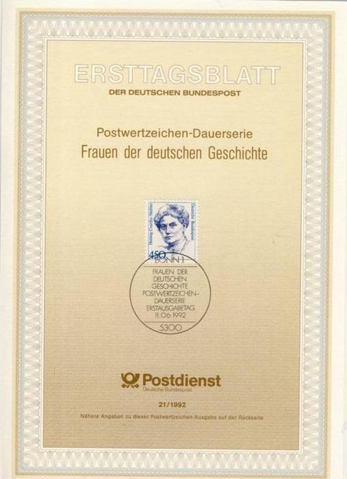 BRD - ETB (Ersttagsblatt) 21/1992 Michel 1614 - 450Pf Frauen Hedwig Courths-Maler