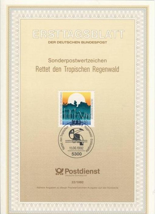 BRD - ETB (Ersttagsblatt) 22/1992 Michel 1615 - Umweltschutz Rettet den Tropenwald