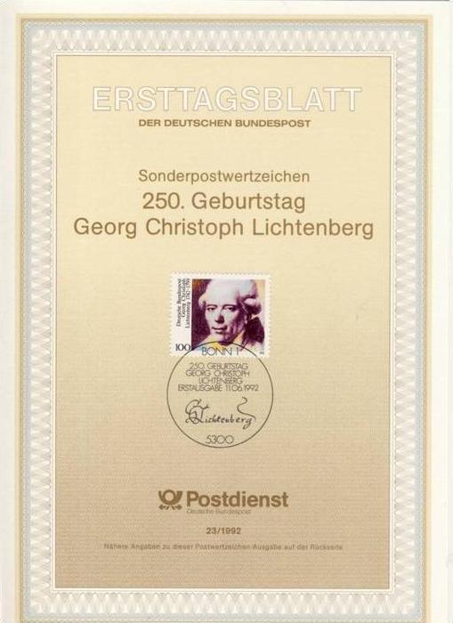 BRD - ETB (Ersttagsblatt) 23/1992 Michel 1616 - Georg Christoph Lichtenberg