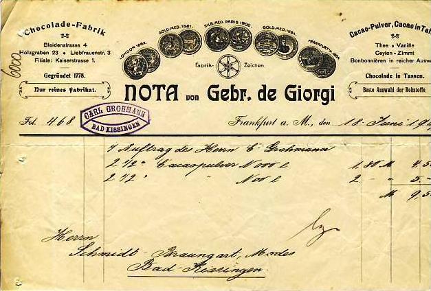 Frankfurt v. 1907 C. Grohmann,-Cacao Pulver ( 34564)