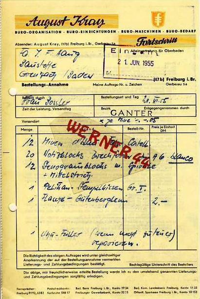 Freiburg v.1955 A.Kray,-- Büro-Organisation (34656)