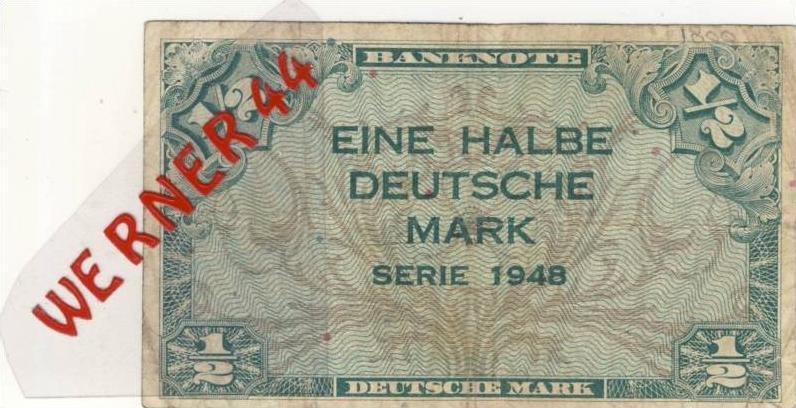 Banknote - Eine halbe Deutsche Mark - Serie 1948  (983)