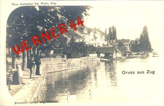 Gruss aus Zug v. 1909  Teil-Stadt-Ansicht  - siehe Foto !!  (36130)