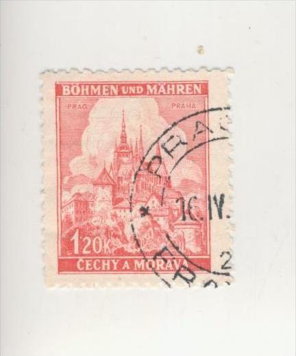 Böhmen & Mähren v. 1943  Lindenzweig und Landschaften  -  1,20 K   (212)