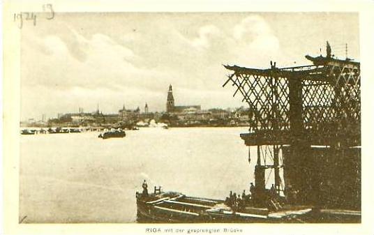 Riga v.1929 Stadt & gesprengte Bücke (20931)