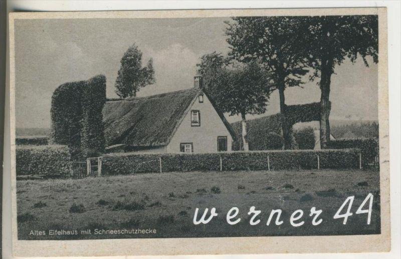 Elsenborn v.1943 Eifelhaus mit Schneeschutzhecke  (5934)