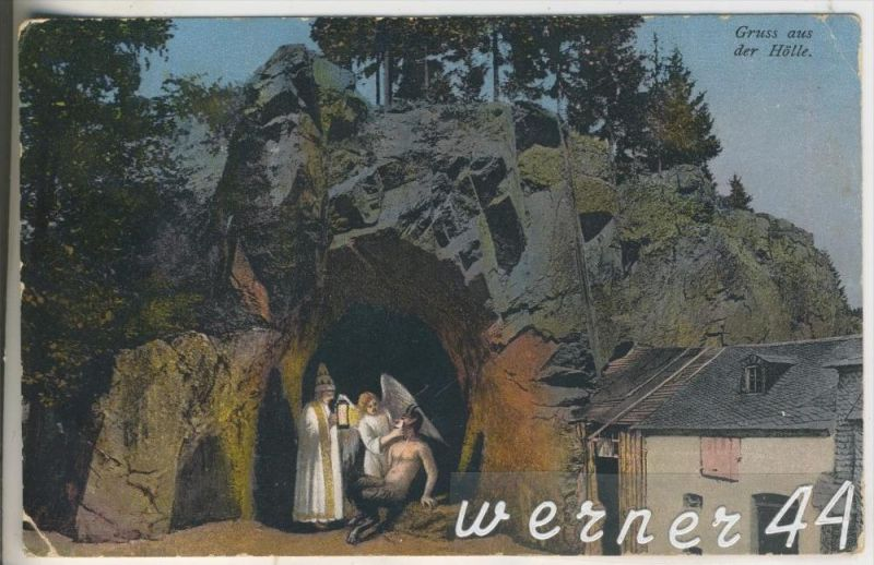 Gruss aus der Hölle v.1925 Teufel,Engel,Pastor (9379)