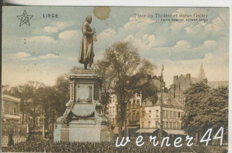 Liege v. 1914  Place du Theatre und Statue Gretry und Cafe du Pointde Yue  (21106))