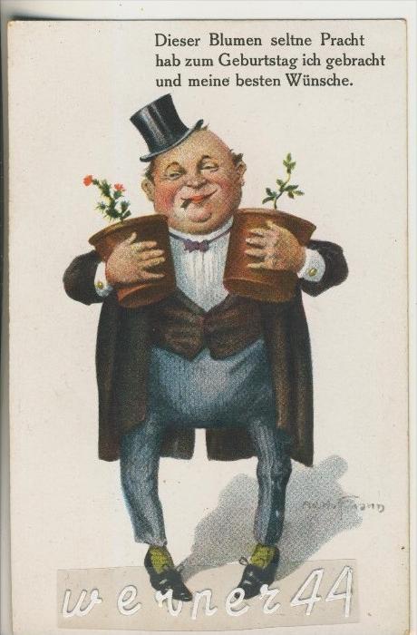 Geburtstag V 1924 Blumen Pracht Mit Dicken Mann 35101a Nr