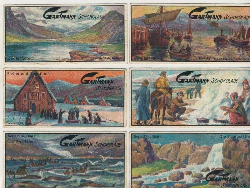 Altona v. 1923  C.H.L.Gartmann - Kakao und Schokoladen Fabrik -- Serie 584  Die Insel Island 1-6 komplett  (46858)