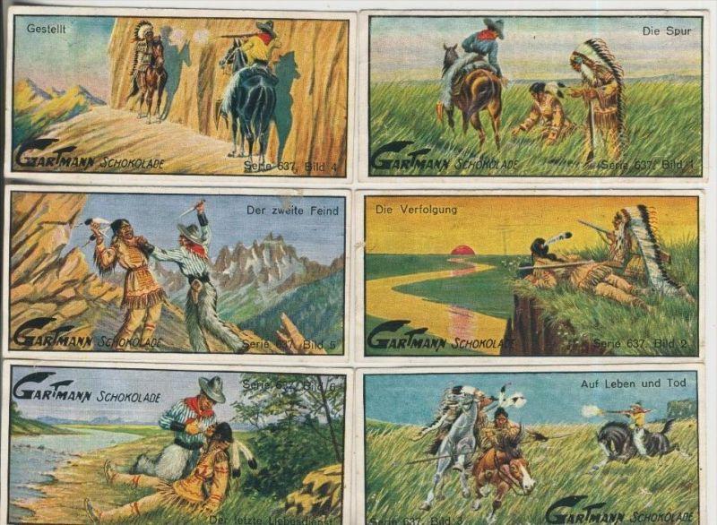 Altona v. 1923  C.H.L.Gartmann - Kakao und Schokoladen Fabrik -- Serie 637 U. Cowboys und Indianern 1-6 komplett (46864)