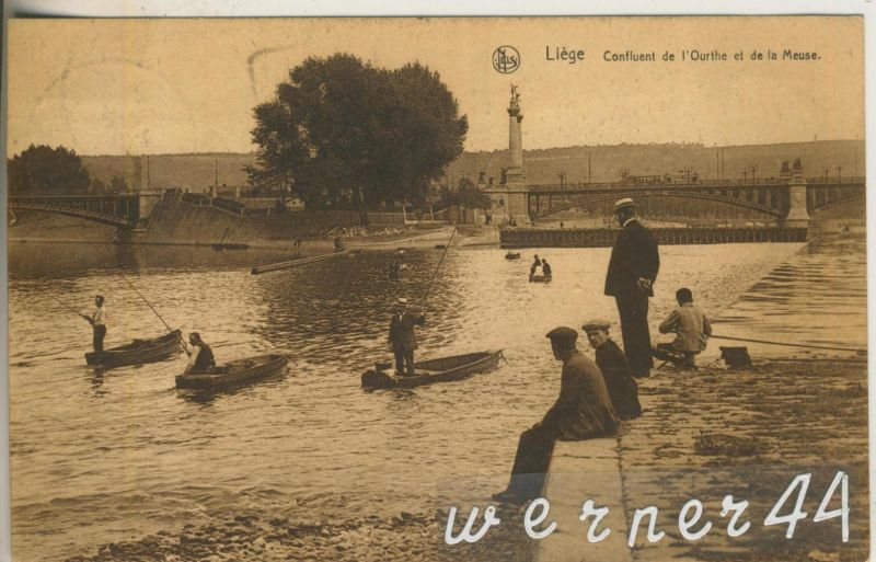 Liege v. 1926  Confluent de lÒurthe et de la Meuse und Angler  (47027)
