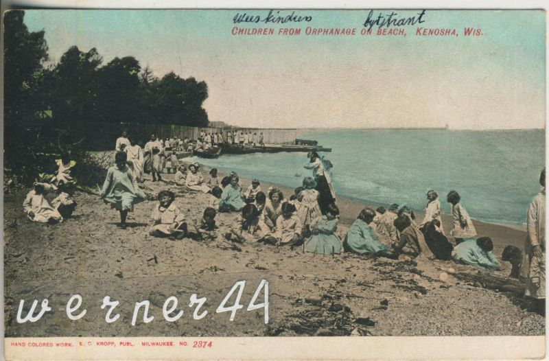 Kenosha v. 1910  Children from Orphanage on Beach  (47032)