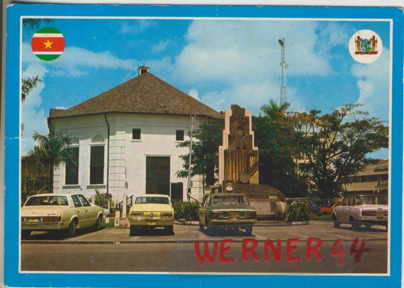 Paramaribo v. 1989  Churchsquane with Reform Church and Monument J.N. Helstone  (48589)