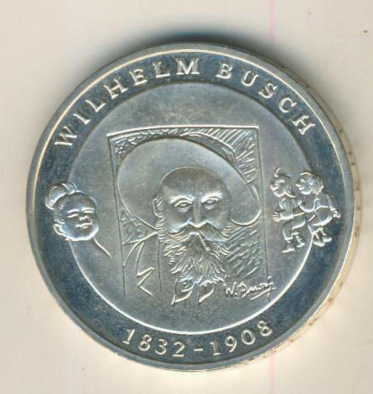 10 Euro Silbermünze BRD 2007- Wilhelm Busch Max und Moritz (48889)