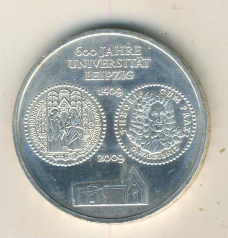 10 Euro 2009 --  600 Jahre Universität Leipzig 1409 Silbermünze