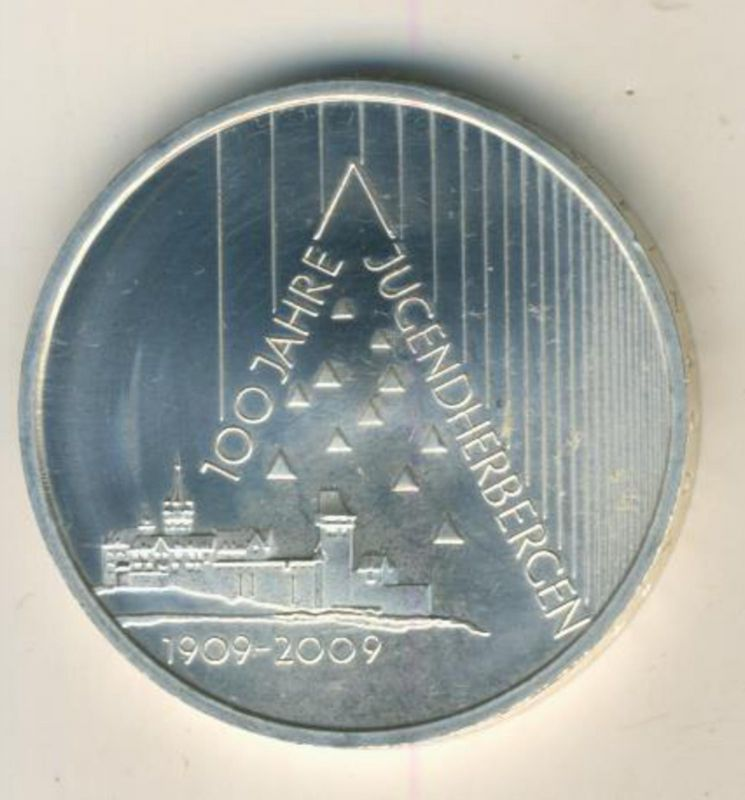 10 Euro Silbermünze 2009 -- 100 Jahre Jugendherbergen  (48891)