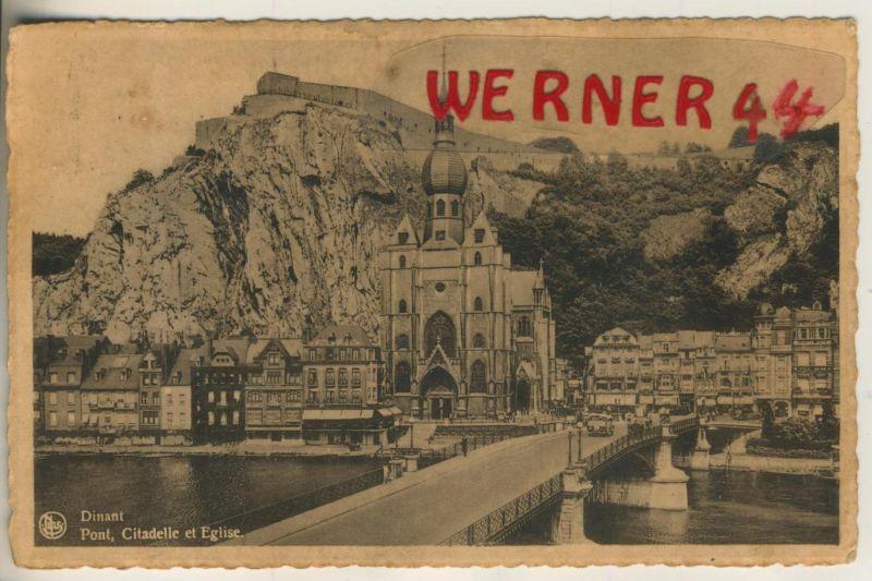 Dinant v. 1952  Teil-Stadt-.Ansicht mit Kirche  (49356)